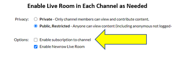 Enable Live Room in Channel